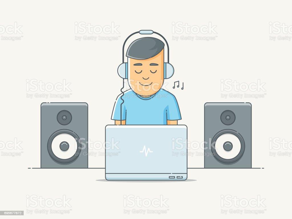Sound Engineer vector art illustration