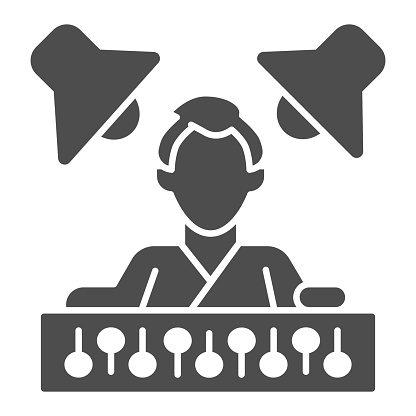Sound engineer with mixer and monitors solid icon, Sound design concept, Sound engineering sign on white background, Man with music recording studio equipment icon in glyph style. Vector.