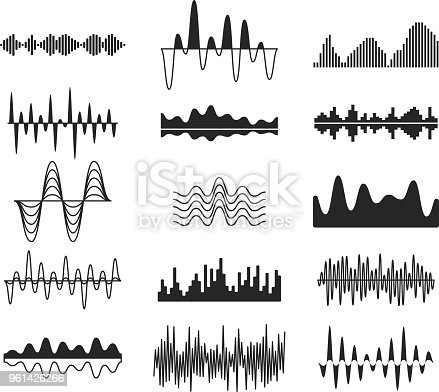 Sound frequency waves. Analog curved signal symbols. Audio track music equalizer forms, soundwaves signals vector set. Wavy signal electronic equalizer illustration