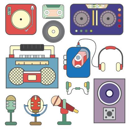 sound icon set concept cartoon. filled line.vector ,illustration.