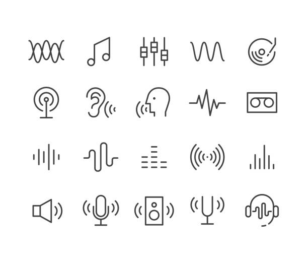 sound icons - classic line series - hałas stock illustrations