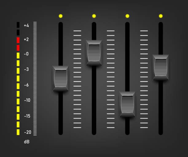 Sound mixer controller. Vector sound mixer Sound mixer controller. Vector sound mixer knob stock illustrations