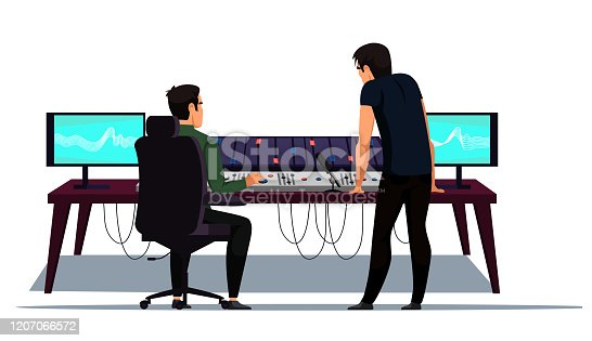 Sound music recording and creation studio at work. Record producer audio engineer workplace. Different equipment for capturing, mixing, mastering song isolated on white. Vector illustration
