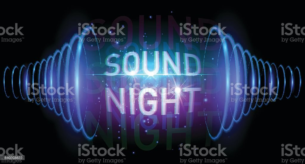 Sound night banner vector art illustration