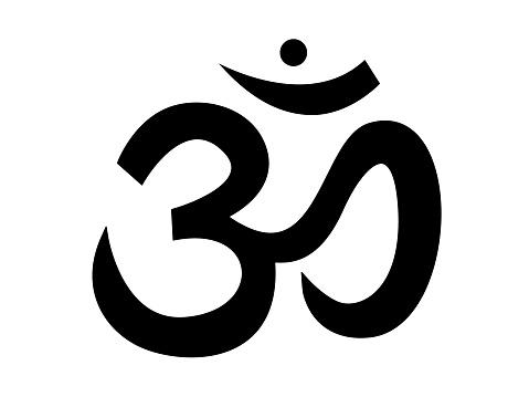 Sound ohm. Main black symbol of sacred mantra pure sound yoga and spirituality religious.