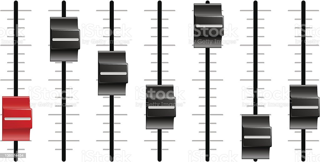 Sound or video control board Sliders faders royalty-free stock vector art