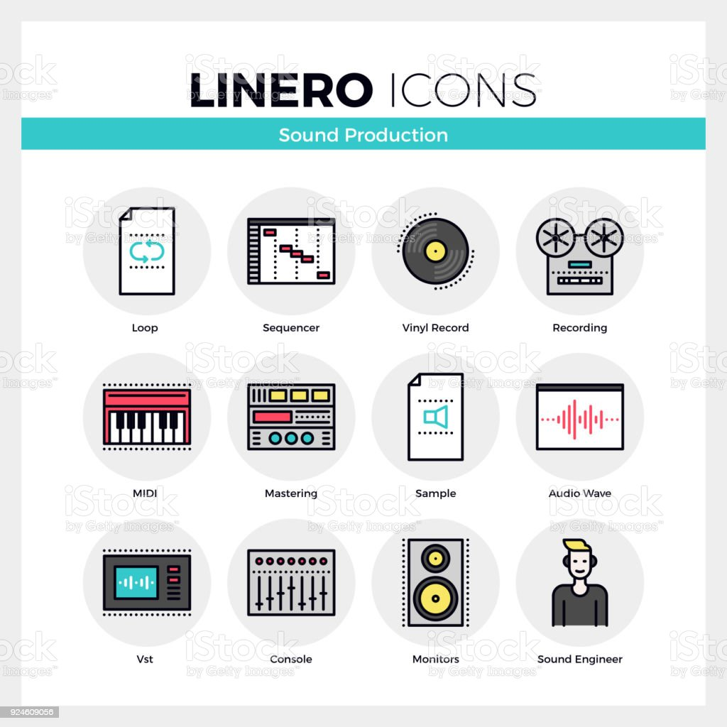 Sound Production Linero Icons Set vector art illustration