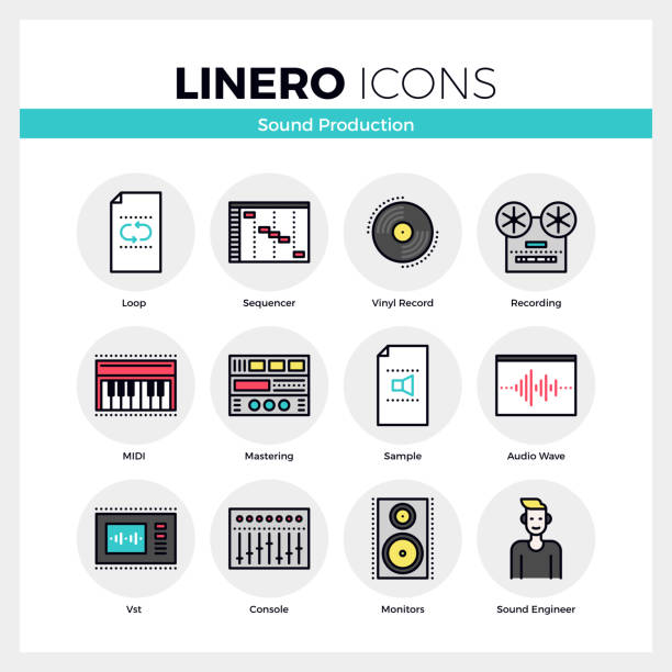 sound production linero icons set - sound effects stock illustrations, clip art, cartoons, & icons
