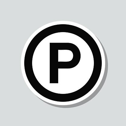 Sound recording copyright. Icon sticker on gray background