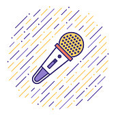 Flat line vector icon illustration of sound recording & reproduction with abstract background.