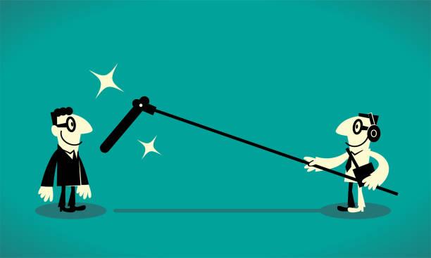 illustrations, cliparts, dessins animés et icônes de sound preneur avec un long microphone enregistrant un homme d'affaires - interview