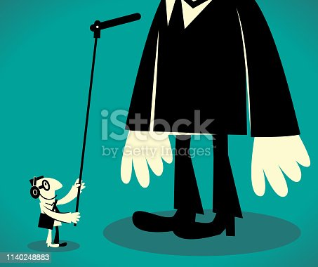 Characters with Glasses Manga Style Cartoon Vector art illustration.Copy Space, Full Length. Sound recordist with a long microphone recording a giant tall businessman.
