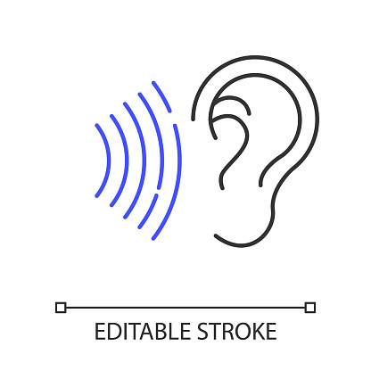Sound signal linear icon. Audible soundwave. Listening ear. Loud noise perception. Voice call. Thin line illustration. Contour symbol. Vector isolated outline drawing. Editable stroke