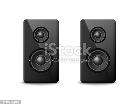 istock Sound speakers or boosters two columns, realistic vector illustration isolated. 1285344806