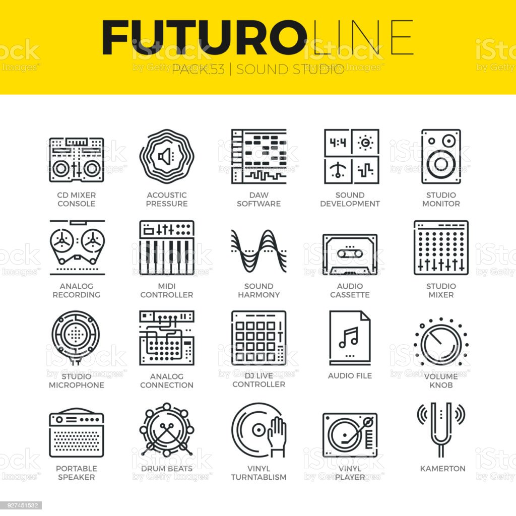 Sound Studio Futuro Line Icons vector art illustration