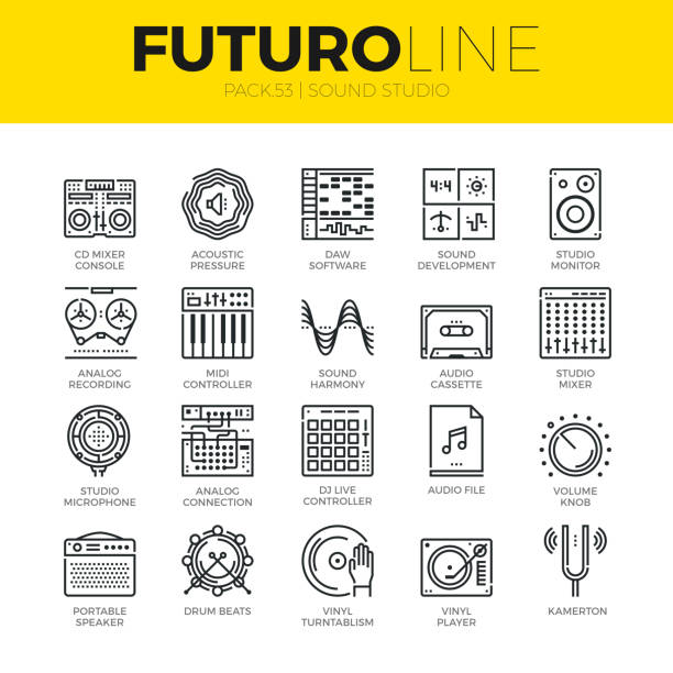 sound studio futuro line icons - sound effects stock illustrations, clip art, cartoons, & icons