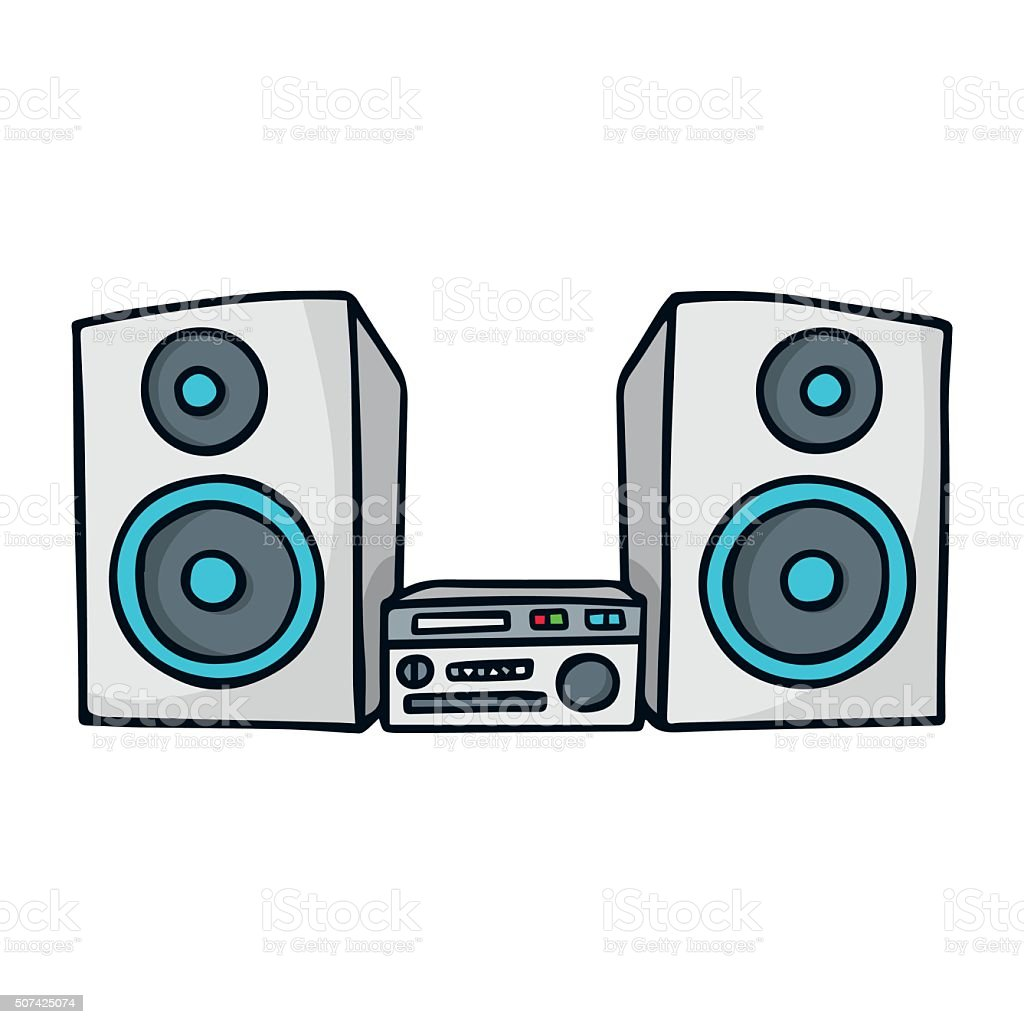 sound system clipart. sound system. cute doodle sketch illustration isolated on white royalty-free stock vector art system clipart