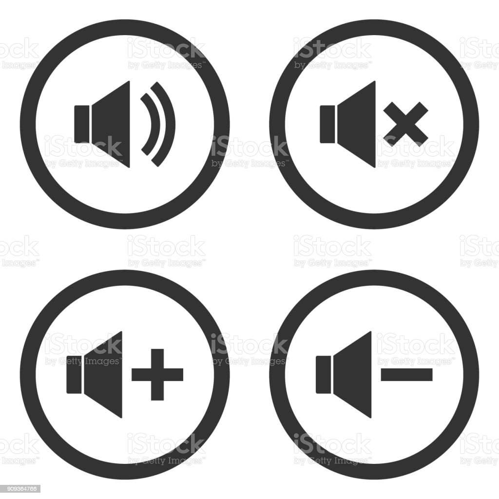 Sound volume control buttons set. Mute, unmute, quieter, louder icons in circle. Vector vector art illustration