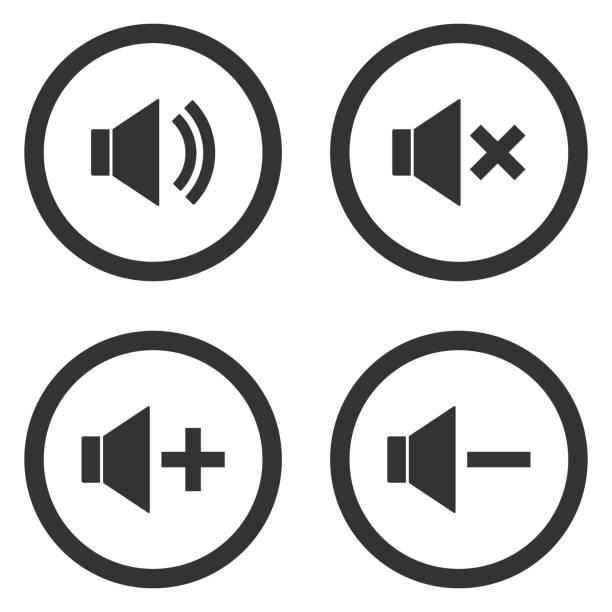 illustrazioni stock, clip art, cartoni animati e icone di tendenza di sound volume control buttons set. mute, unmute, quieter, louder icons in circle. vector - segno meno