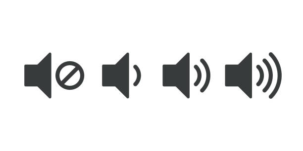 sound volume icons. vector isolated sound volume up, down or mute control buttons set - hałas stock illustrations