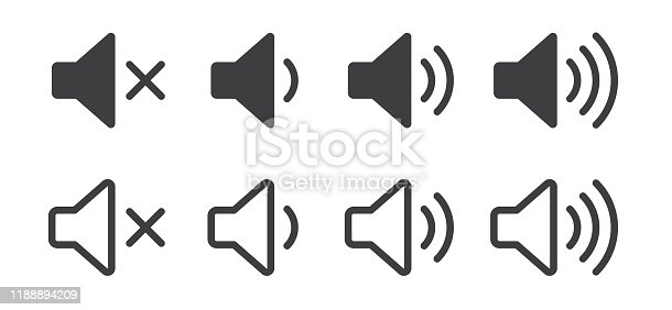 Sound volume icons. Vector isolated sound volume up, down or mute control buttons set