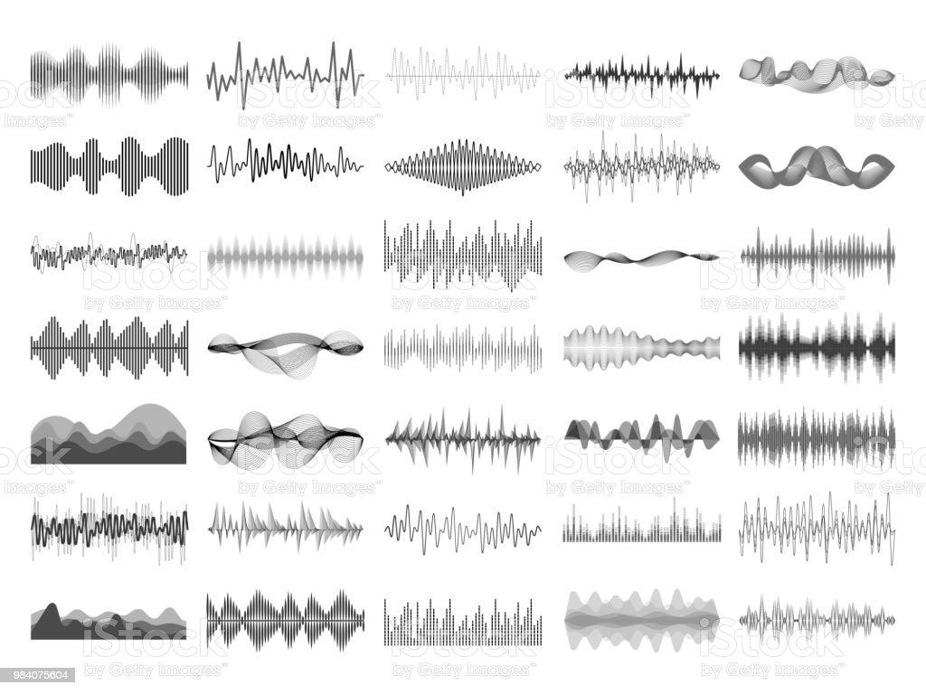 音の波と音楽のデジタル [イコライザー] パネル。サウンド ウェーブ振幅ソニック ビート パルス音声可視化ベクトル図 - アナログレコードのロイヤリティフリーベクトルアート
