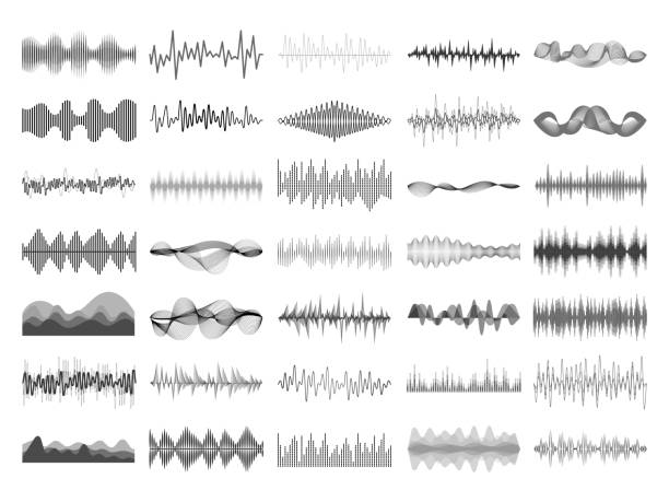 sound wave and music digital equalizer panel. soundwave amplitude sonic beat pulse voice visualization vector illustration - hałas stock illustrations