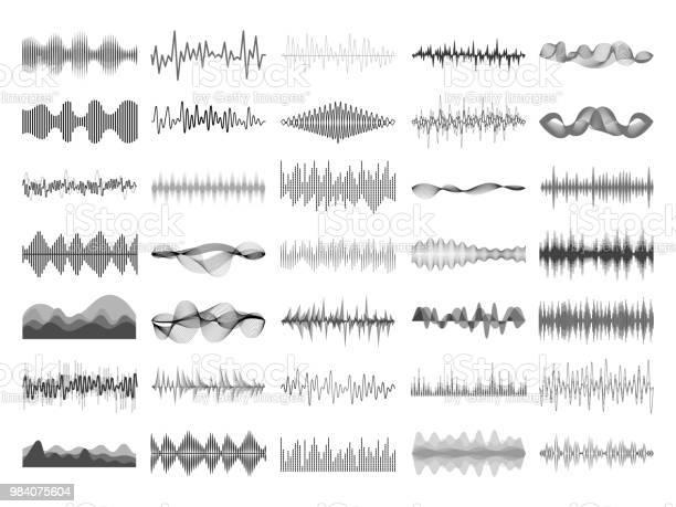 音の波と音楽のデジタル イコライザー パネルサウンド ウェーブ振幅ソニック ビート パルス音声可視化ベクトル図 - アナログレコードのベクターアート素材や画像を多数ご用意