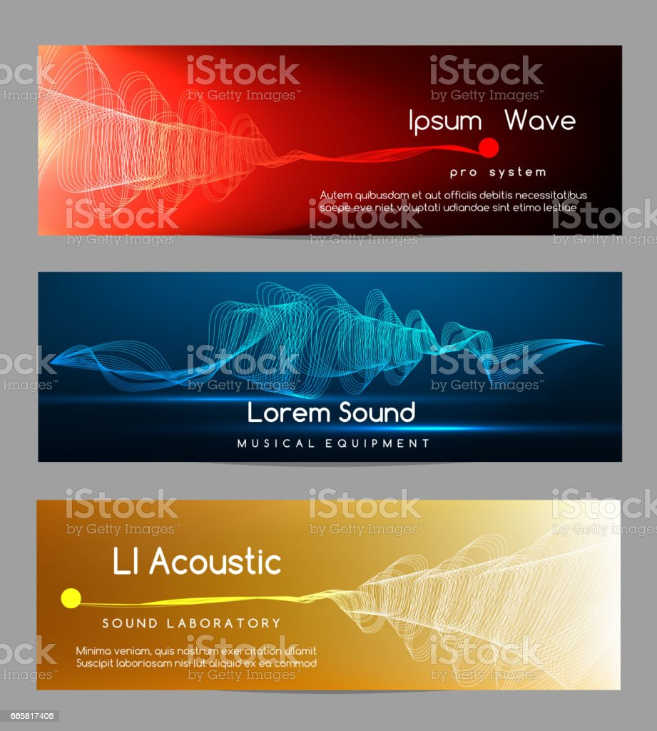 Sound wave banners. Digital abstract vibrant waveform lines energy cards vector illustration vector art illustration
