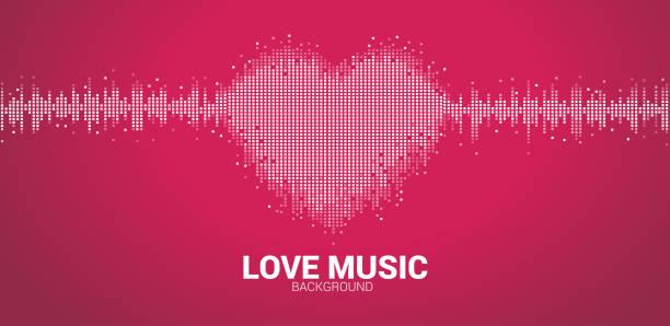 sound wave heart icon music equalizer background. - rytm stock illustrations