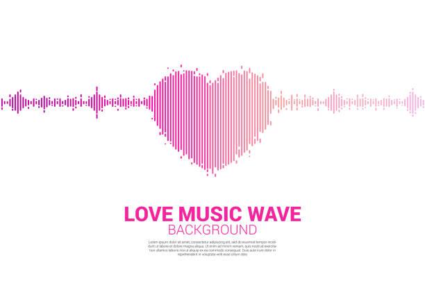 schallwelle herzsymbol musik equalizer hintergrund. - sound wave grafiken stock-grafiken, -clipart, -cartoons und -symbole