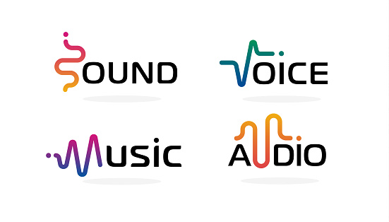 Sound wave icons set. Music waves symbols. Audio logos template. Voice equalizer emblems idea. Modern creative vector logotype collection on blank background.