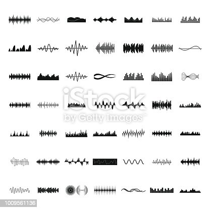 Sound wave icons set. Simple illustration of 50 sound wave vector icons for web