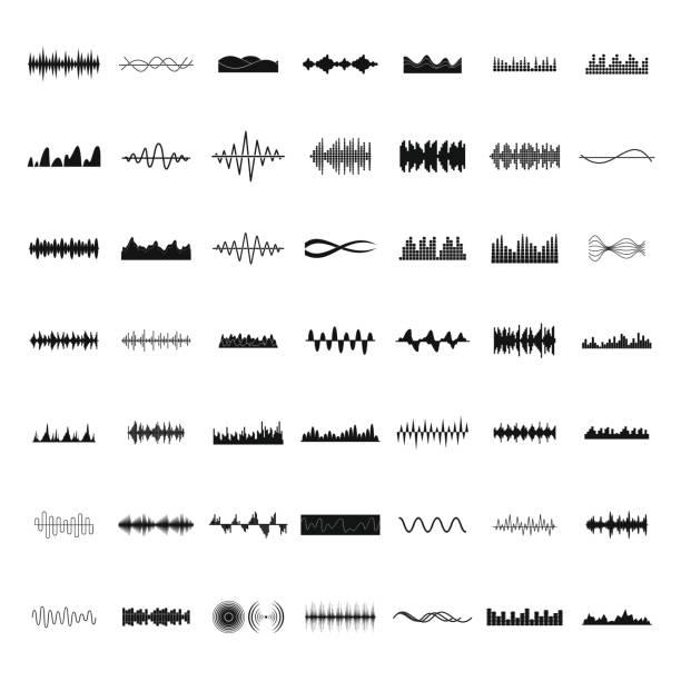 schallwelle icons set, einfachen stil - sound wave stock-grafiken, -clipart, -cartoons und -symbole