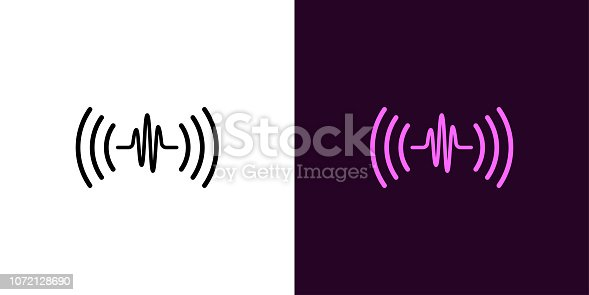 Sound wave illustration. Vector icon of Voice sound assistant with acoustic waves in outline style. Black and color version