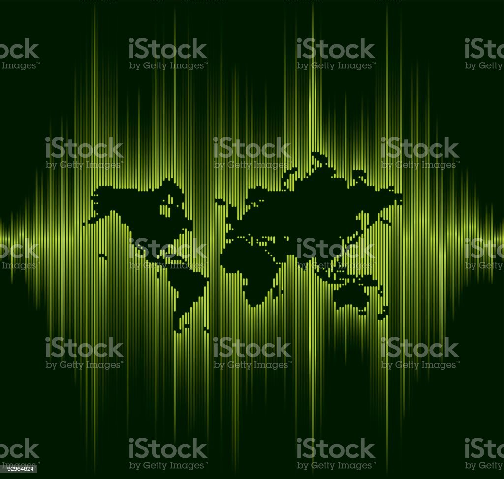 Sound wave line World map royalty-free stock vector art
