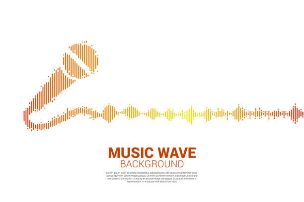 schallwelle mikrofonsymbol equalizer hintergrund. - sound wave grafiken stock-grafiken, -clipart, -cartoons und -symbole