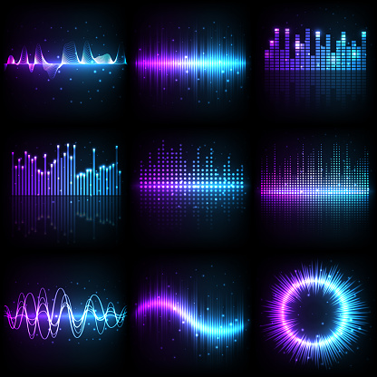 Sound wave, music audio equalizer frequency