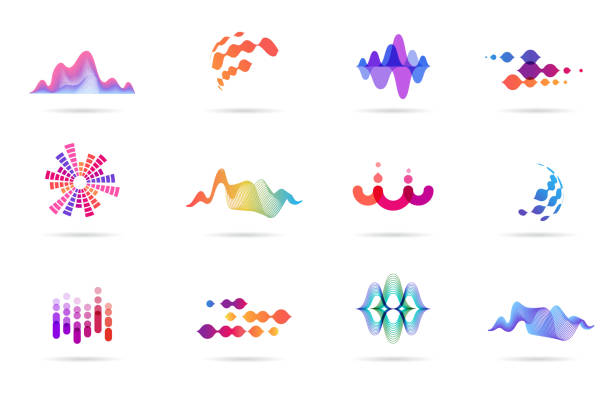 sound wave, music, production logo and symbol collection, design icons - hałas stock illustrations