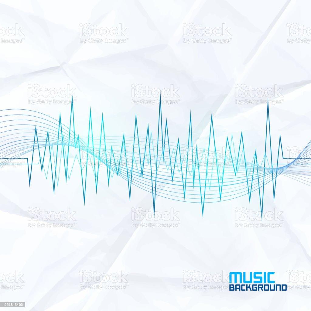 Sound Wave on Paper Background. Abstract Equalizer vector art illustration