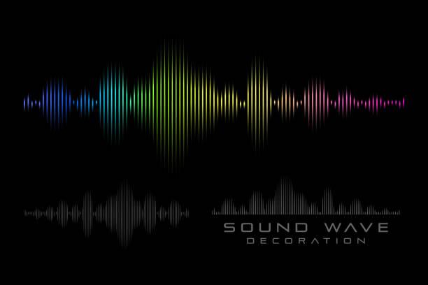 sound wave on the black background. - rytm stock illustrations
