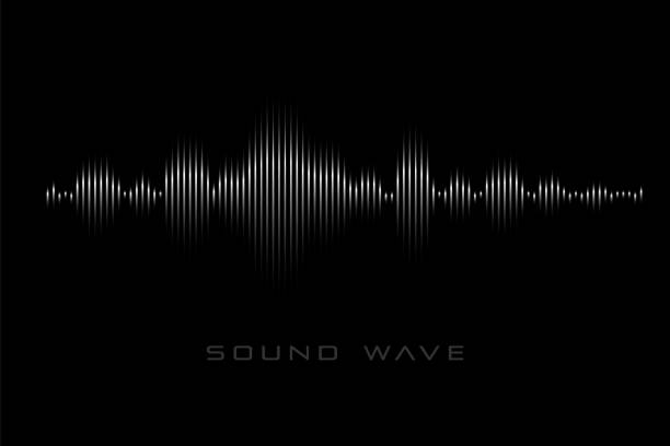 Sound wave on the black background. Sound wave on the black background. Monochrome symbol of  audio signal. shaking stock illustrations