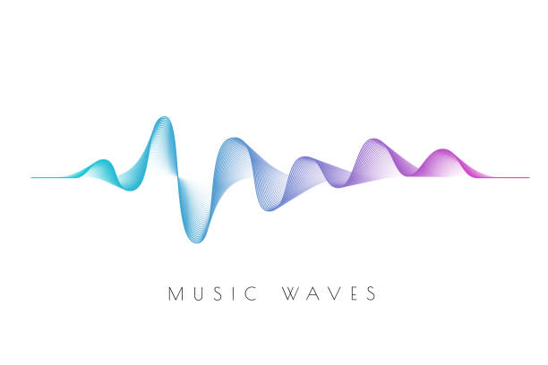 sound wave on the black background. - hałas stock illustrations