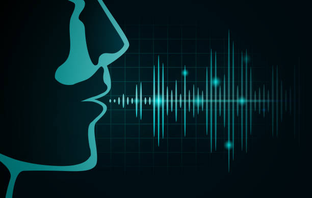 Sound wave out of human mouth on black graph. vector art illustration