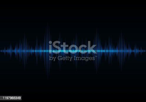 Sound wave vector background. Blue digital equalize