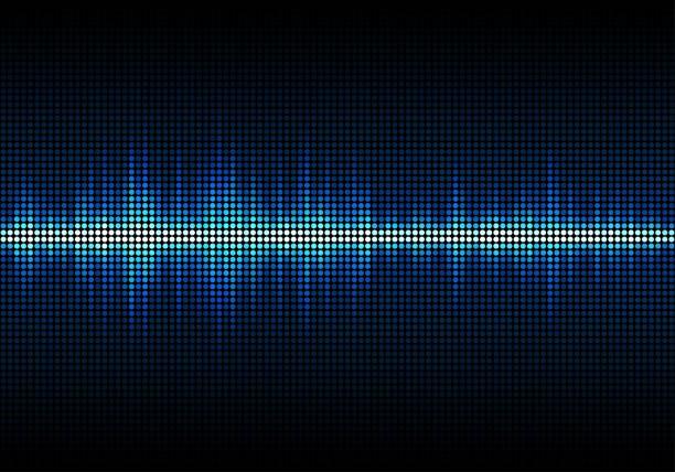 sound wave vector background. blue digital equalizer - sine wave stock illustrations