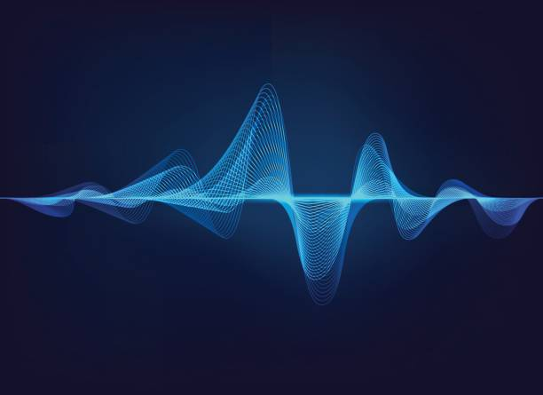sound Wave abstract digital green blue equalizer, sound wave pattern element shaking stock illustrations