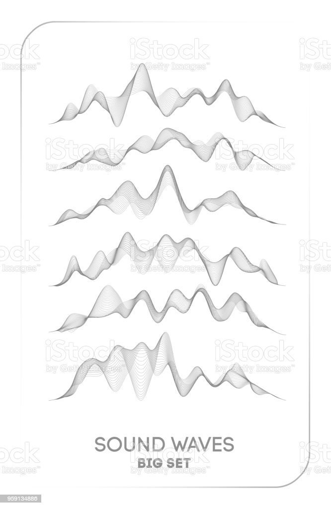 Sound wave vector . Vector music voice vibration, song waveform digital spectrum, audio pulse and waveform frequency equalizer vector art illustration