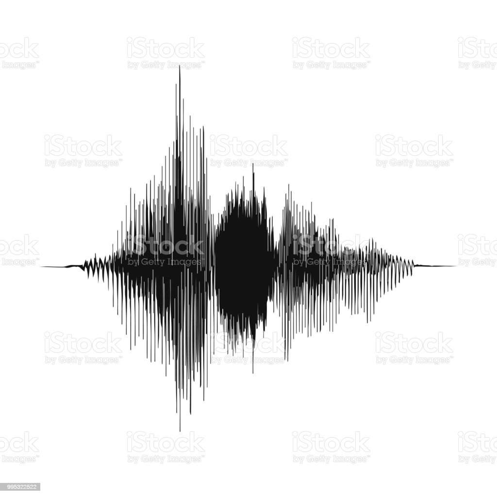 音の波。録音コンセプトと音楽の録音のコンセプト。アナログ オーディオ波の振幅 - DJのロイヤリティフリーベクトルアート