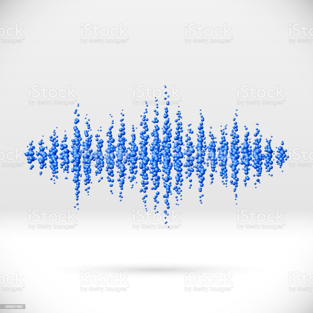 Sound waveform made of scattered balls vector art illustration
